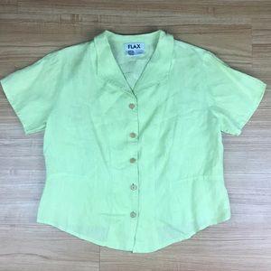 Flax Green Yellow Linen Button Shortsleeve Shirt S